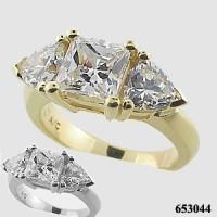 14k White Gold 3ct Princess/Trillion Moissanite Ring - Product Image