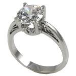 Platinum Antique Scroll Round Brilliant Moissanite Solitaire Engagement Ring - Product Image